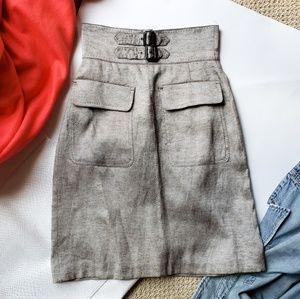 ZARA highwaist metallic linen skirt xs